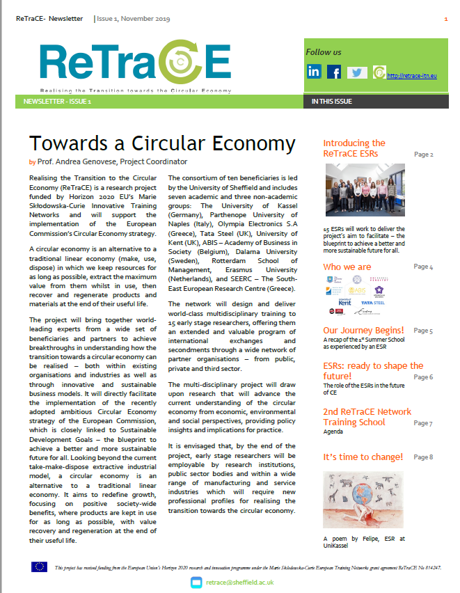 ReTraCE Newsletter – Issue 1
