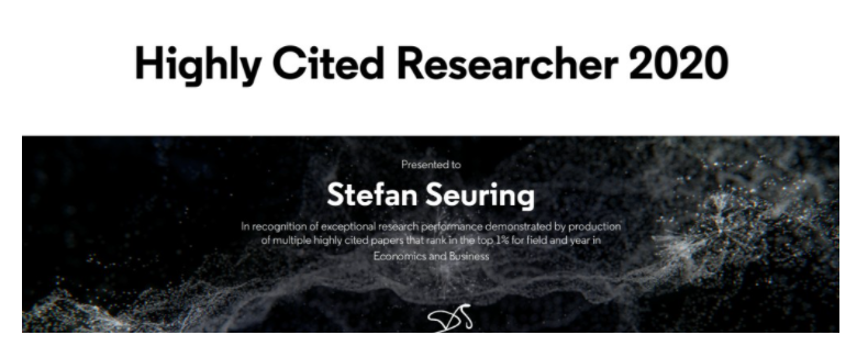 Highly Cited Researcher– Prof Seuring